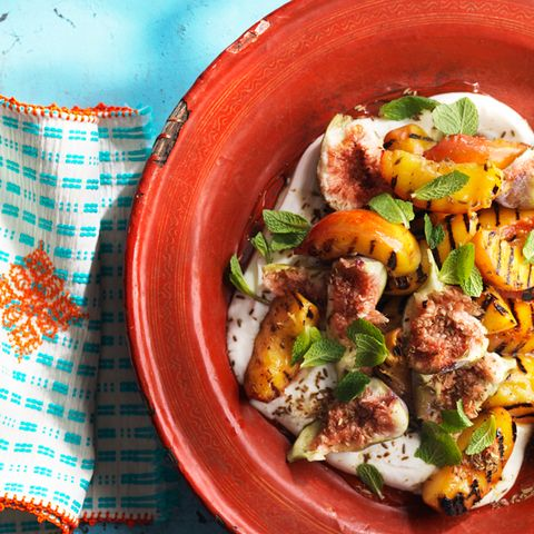 grilled fruit with scented yogurt recipe