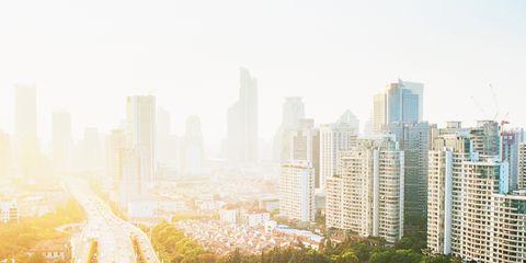 Metropolitan area, Cityscape, Urban area, Road, Metropolis, Highway, Freeway, City, Atmospheric phenomenon, Skyscraper,