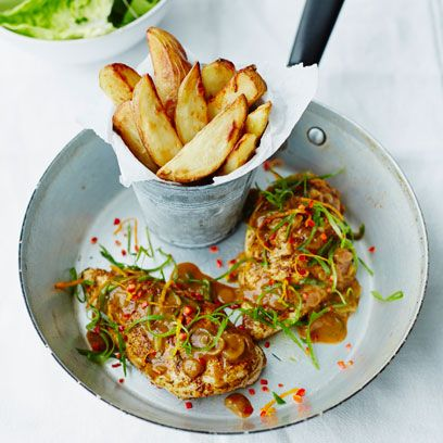 Roast chicken with chips