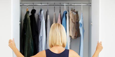 Clothing, Clothes hanger, Blue, Room, Dress, Closet, Shoulder, Furniture, Waist, Textile,