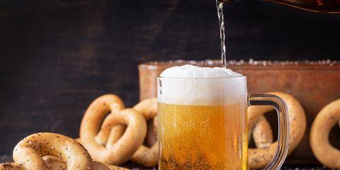 Food, Drink, Pretzel, Still life, Mug, Beer glass, Taralli, Still life photography, Fried food, Bagel,