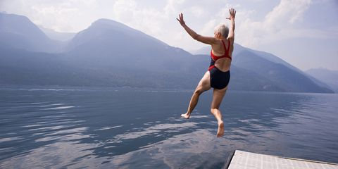 Jumping, Sky, Water, Flip (acrobatic), Happy, Lake, Physical fitness, Recreation, Vacation, Landscape,