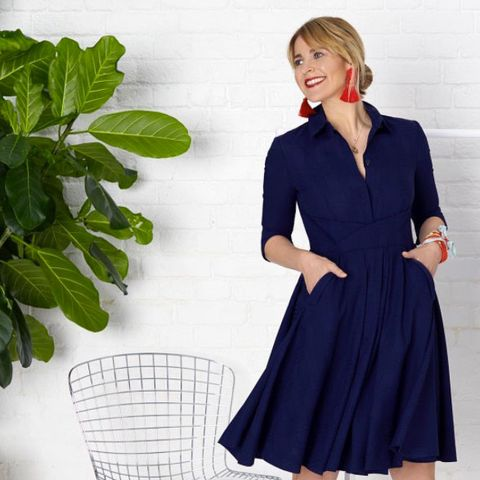 Clothing, Blue, Dress, Sleeve, Neck, Collar, Waist, A-line, Formal wear, Outerwear,