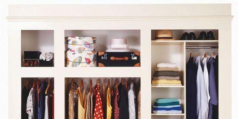 Closet, Furniture, Room, Wardrobe, Shelf, Cupboard, Clothes hanger, Shelving, Shoe organizer, Door,