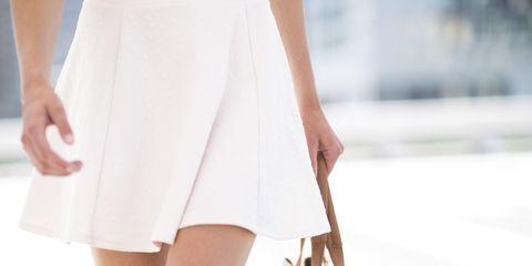 White, Clothing, Dress, Shoulder, Waist, Leg, Fashion, Human leg, Beige, Footwear,