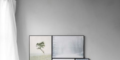 White, Furniture, Room, Interior design, Living room, Table, Wall, Black-and-white, Couch, Floor,