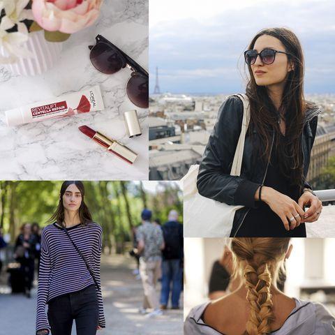 Eyewear, Clothing, Jacket, Sunglasses, Street fashion, Pink, Outerwear, Fashion, Leather, Glasses,