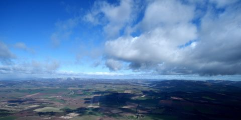 Sky, Aerial photography, Atmosphere, Cloud, Bird's-eye view, Horizon, Plain, Landscape, Photography, Cumulus,