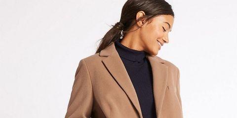 Clothing, Overcoat, Coat, Trench coat, Outerwear, Collar, Beige, Jacket, Sleeve, Blazer,