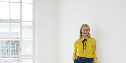 Blue, White, Yellow, Clothing, Shoulder, Standing, Denim, Jeans, Cobalt blue, Electric blue,
