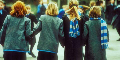 People, Uniform, Youth, Standing, Friendship, School uniform, Fun, Outerwear, Crowd, Photography,