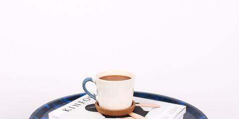 Blue, Table, Furniture, Coffee table, Chair, Tableware, Serveware, Stool, Drinkware, Wheel,