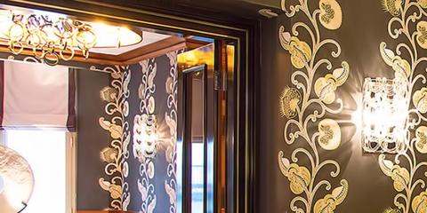 Room, Interior design, Furniture, Curtain, Property, Wallpaper, Wall, Lighting, Suite, Living room,