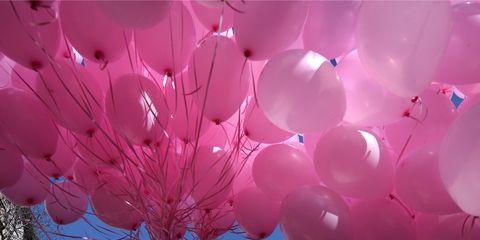 Pink, Balloon, Sky, Party supply, Lighting, Branch, Tree, Spring, Crowd, Fun,