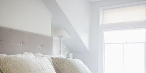 Bedroom, Furniture, White, Bedding, Bed, Bed sheet, Room, Property, Bed frame, Pillow,