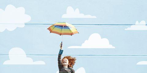 Umbrella, Blue, Sky, Yellow, Water, Cloud, Illustration, Fashion accessory, Tree, Photography,