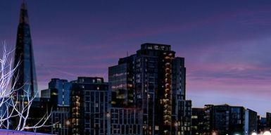 City, Metropolitan area, Cityscape, Human settlement, Skyline, Landmark, Purple, Metropolis, Sky, Skyscraper,