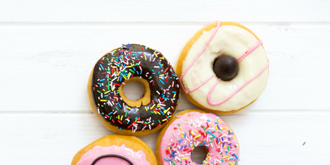 Doughnut, Food, Baked goods, Glaze, Pastry, Confectionery, Sprinkles, Finger food, Button, Ciambella,