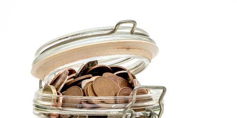 Mason jar, Saving, Money, Coin, Food storage containers, Beige, Metal, Currency, Macaroon, Cookie jar,