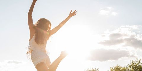 People in nature, Sunlight, Grass, Sky, Jumping, Meadow, Happy, Light, Beauty, Backlighting,