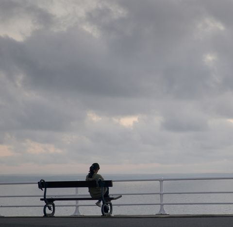 Sky, Cloud, Bench, Cumulus, Meteorological phenomenon, Guard rail, Outdoor bench, Street furniture, Fence, Outdoor furniture,