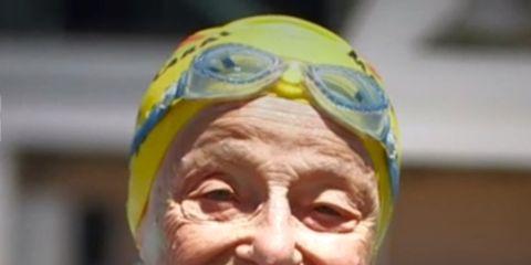 Swim cap, Swimmer, Headgear, Recreation, Fun, Personal protective equipment, Cap, Smile, Swimming,