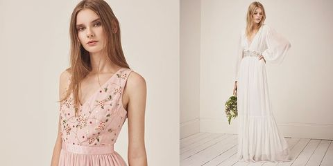 Clothing, Dress, Gown, Fashion model, Pink, Yellow, Shoulder, Fashion, Wedding dress, Neck,