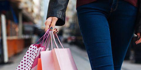 Pink, Clothing, Street fashion, Shopping bag, Jeans, Leg, Denim, Leggings, Handbag, Textile,