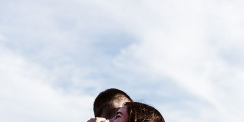 People in nature, Photograph, Shoulder, Hug, Sky, Love, Happy, Photography, Interaction, Romance,