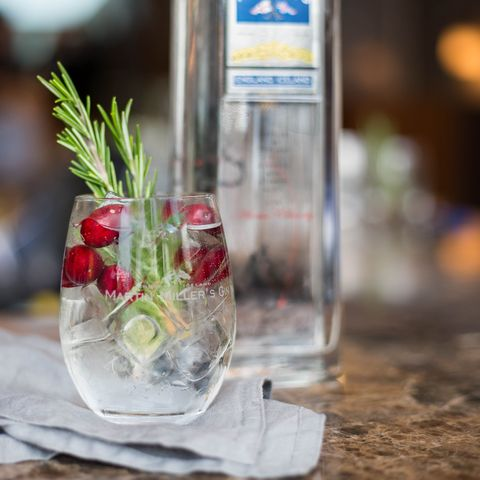 Drink, Highball glass, Gin and tonic, Spritzer, Non-alcoholic beverage, Glass, Plant, Distilled beverage, Mojito, Fizz,