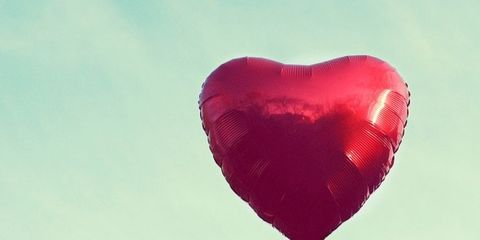 Balloon, Red, Heart, Pink, Sky, Love, Party supply, Valentine's day,