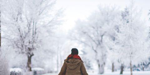 Snow, People in nature, Winter, White, Photograph, Freezing, Atmospheric phenomenon, Standing, Snapshot, Tree,