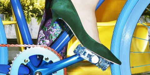 Blue, Footwear, Cobalt blue, Leg, Human leg, High heels, Ankle, Electric blue, Shoe, Bicycle part,