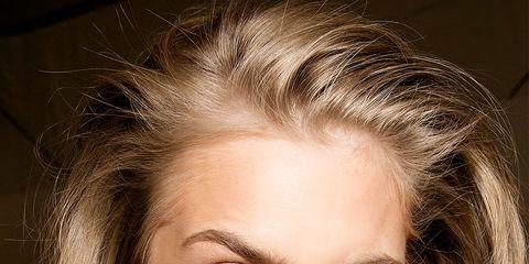 Hair, Face, Eyebrow, Hairstyle, Blond, Lip, Chin, Beauty, Skin, Cheek,