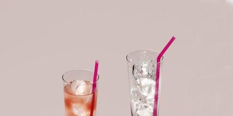 Drink, Pink, Non-alcoholic beverage, Cocktail garnish, Rose, Highball glass, Woo woo, Drinking straw, Tumbler, Cocktail,
