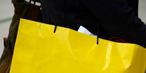 Yellow, Bag, Material property, Font, Brand,