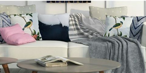 Furniture, Room, Blue, Interior design, Living room, Table, Pink, Coffee table, studio couch, Home,
