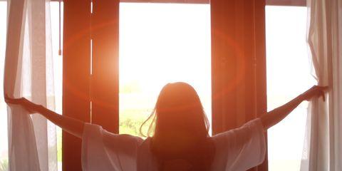Curtain, Light, Window treatment, Sunlight, Interior design, Yellow, Textile, Window, Morning, Backlighting,