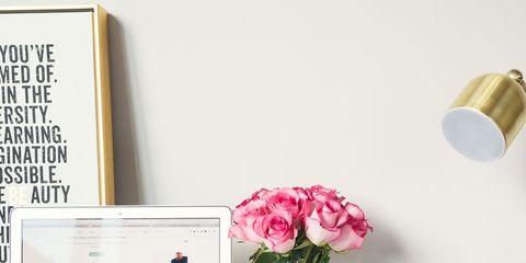 Pink, Desk, Product, Table, Furniture, Room, Design, Flower, Plant, Interior design,