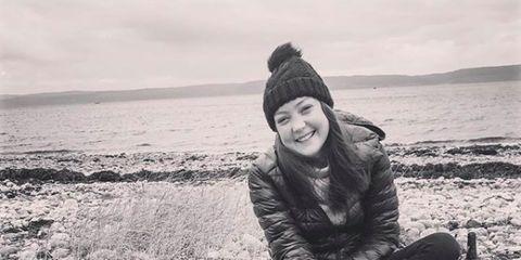 Black-and-white, Sea, Beach, Photography, Rock, Fun, Smile, Sitting, Monochrome, Sand,
