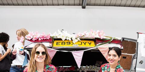 Pink, Fashion, Street fashion, Automotive design, Costume, Fun, Vehicle, Spring, Dress, Flower,