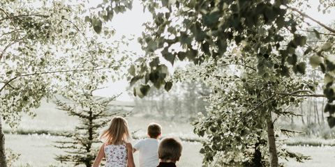 People in nature, Photograph, People, Tree, Child, Photography, Snapshot, Grass, Black-and-white, Grass family,