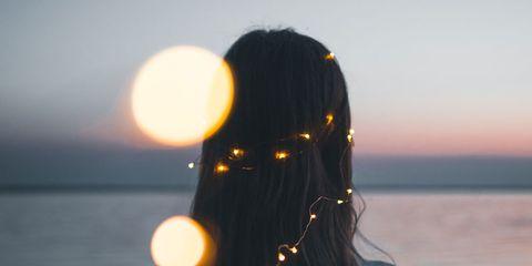 Hair, Sky, Water, Backlighting, Beauty, Sea, Long hair, Shoulder, Ocean, Sunlight,