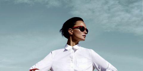 Eyewear, Vision care, Goggles, Sleeve, Dress shirt, Collar, Sunglasses, Shirt, Fashion, Travel,