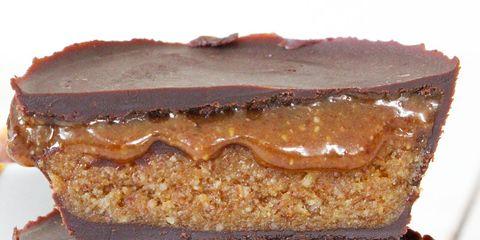 Food, Caramel shortbread, Dulce de leche, Dish, Peanut butter, Cuisine, Baked goods, Nut butter, Ingredient, Dessert,