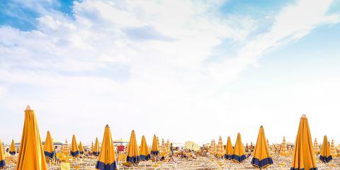 Yellow, Sand, Beach, Sky, Vacation, Summer, Tourism, Coast, Sea, Umbrella,