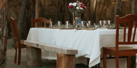 Tablecloth, Photograph, Table, Furniture, Chair, Tree, Branch, Wedding reception, Linens, Textile,