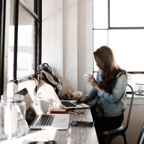 Office, Interior design, Room, Window, White-collar worker, Desk, Hand, Furniture, Sitting, Meal,