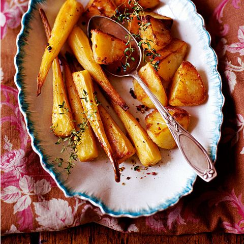 Parsnips and potatoes roasted in duck fat with thyme