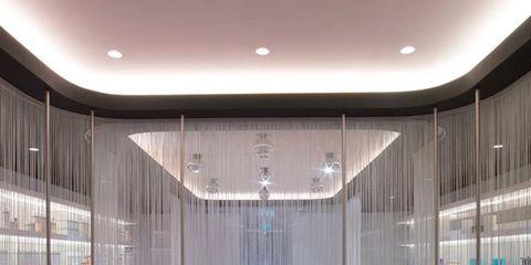 Interior design, Property, Ceiling, Glass, Floor, Ceiling fixture, Light fixture, Interior design, Fixture, Composite material,